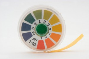 A colorful roll of pH test strips.